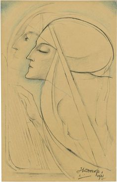 Two Nuns, Jan Toorop. Dutch Symbolist Painter (1858 - 1928) Via
