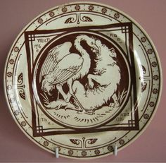 VERY RARE MINTON DINNER PLATE 1877 VINTAGE MOYR SMITH AESOPS FABLES WOLF & CRANE