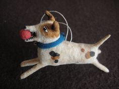 Vintage Inspired Spun Cotton Terrier Dog Miniature by spuncotton German Christmas, Xmas, Christmas Ornaments, Smooth Fox Terriers, Mini Dogs, Feather Tree, Pull Toy, Felt Art, Felt Animals