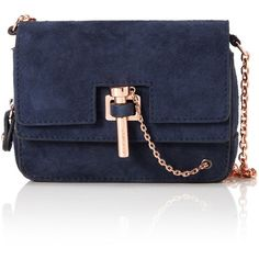 Carven Marine Suede Mini Bag (2,085 SAR) ❤ liked on Polyvore featuring bags, handbags, shoulder bags, navy, rose purse, navy purse, chain handbags, navy blue purse and fold over purse