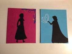 Disney princess Anna and Elsa silhouette on painted canvas from Disney's frozen  on Etsy, $25.00