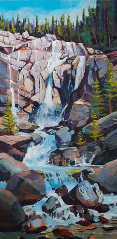 Tangle Falls 18 x 36 - Randy Hayashi Watercolor Landscape, Abstract Landscape, Landscape Paintings, Watercolor Paintings, Pictures To Paint, Art Pictures, Spiritual Paintings, Outdoor Paint, Art Series