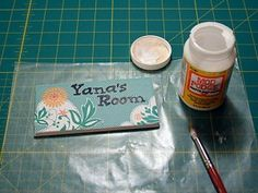 Cute ideas for leftover tile...maybe not the room signs but still a fun idea.