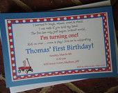 Little Red Wagon Themed Birthday Invitations