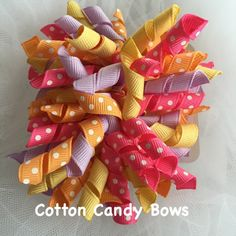 Butterfly Blossoms Set of Large Korkers, Hairbow, Girls, Hair Accessories, Toddlers, Babies, Summer, Photo Prop, Hairbows, Pink, Yelloiw by CottonCandyBows on Etsy
