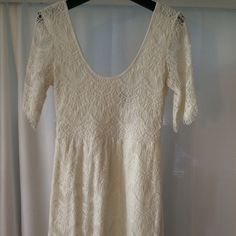 Lace dress Super cute cream lace dress - style it with riding boots and big plaid scarf for a perfect fall outfit! Wet Seal Dresses Mini