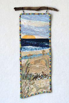 Beach Series Original small art quilt by Eileen Williams. Hangs from foun… Beach series # 101 Original little art … Ocean Quilt, Beach Quilt, Fiber Art Quilts, Landscape Art Quilts, Quilt Display, Star Quilt Patterns, Small Art, Small Small, Miniature Quilts