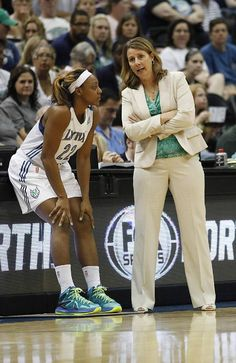 Minnesota Lynx head coach Cheryl Reeve talks with guard Monica Wright (22) during the game against the San Antonio Silver Stars iJune 11, in Minneapolis. The Lynx won 87-72
