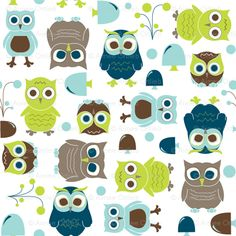 Owls, in Blue - In The Land of Boys fabric by aimeemarie for sale on Spoonflower - custom fabric, wallpaper and wall decals
