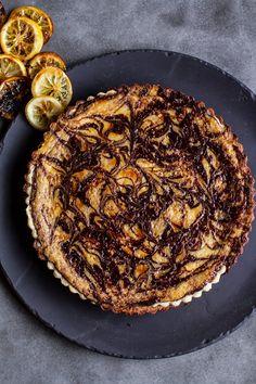 Chocolate Fudge Swirled Lemon Ricotta Tart | halfbakedharvest.com Sweet Desserts, Delicious Desserts, Yummy Food, Sweet Pie, Sweet Tarts, Tart Recipes, Sweet Recipes, Tart Crust Recipe, Candied Lemons