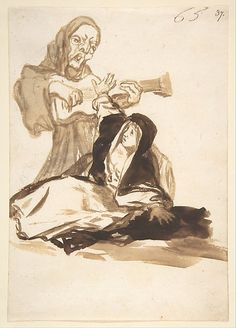 Goya (Francisco de Goya y Lucientes) (Spanish, 1746–1828). A Nun Frightened by a Ghost; Images of Spain Album, 65, ca. 1812-1820. The Metropolitan Museum of Art, New York. Harris Brisbane Dick Fund, 1935 (35.103.37) #Halloween
