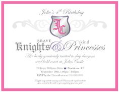 Princess and Knights Party ideas. Shop for Princess and Knight Party at http://www.myprincesspartytogo.com #princessknightpartyideas