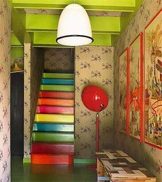 Cool Painted Stairs | colorful staircase design