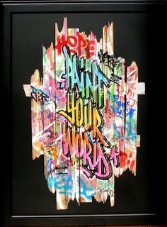 """ONEMIZER (né en 1987). """"Paint your World"""". Aérosol sur palissade en bois contrecollé sur dibond, signé en bas à droite. Haut : 70 cm Larg : 50 cm. Le Chesnay Enchères - 06/02/2016"""