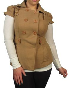 599fashion Plus size short sleeve double breasted fleece coat w/side pockets-id.23139a
