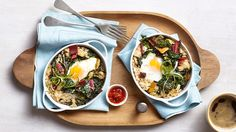 Chef Curtis Stone throws cooked rice, an egg and Swiss chard with sesame oil in the oven for a one-bowl breakfast dish.