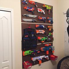Nerf gun wall. Every boys dream. Nerf gun organization.