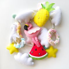 Excited to share this item from my shop: Pineapple mobile Flamingo toy tropical nursery unicorn baby mobile baby shower gift donut watermelon decor newborn gift personalized gift Bird Mobile, Mobile Baby, Cot Mobile, Unicorn Mobile, Flamingo Toy, Flamingo Decor, Baby Shower Presents, Baby Shower Gifts, Newborn Gifts