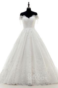 New Style A-Line Off The Shoulder Train Lace Ivory Zipper With Button Wedding Dress with Beading LD3832