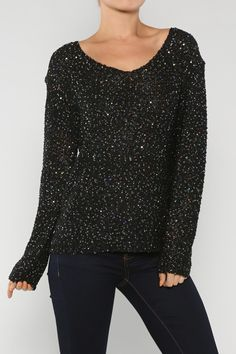 Stylish Sequin Knitted Sweater, Black - Juliette's Jewels #JuliettesJewels #FallSweater #Sequin #Comfy #Black #JuliettesJewels.com