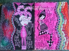 Hi there.     Today I have a few journal pages to share with you that I recently finished.   I did the background for these pages in a re...