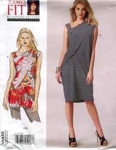 """FREE US SHIP Vogue 1442 Sandra Betzina Designer Funky Top Dress 32- 55"""" Bust New Sewing Pattern Out of Print by LanetzLivingPatterns on Etsy"""