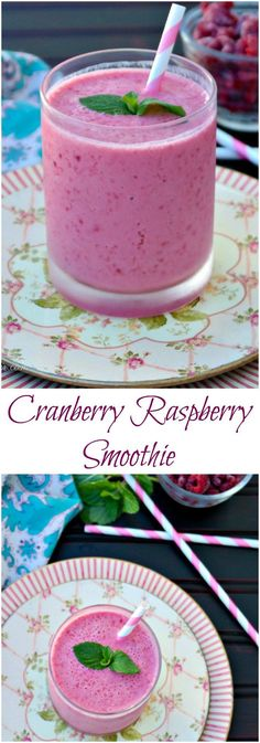 Cranberry Raspberry Smoothie made with non-fat Greek yogurt adding a protein to keep you feeling satisfied! Serve for a meal replacement or for a snack!