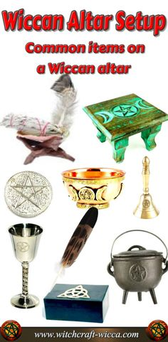Wiccan Altar Set up for Beginners- Athame knife, Witch broom, Magic candles, Witches cauldron, Chalice, Pentagram, Triple Moon, Celtic  cross, Incense Powder, Incense Sticks, Wiccan Pentacle, Magic Wand altar setup | altar setup Wiccan | altar setup witchcraft | altar setup pagan | altar setup wedding | Altar Setups/Decor | via @wicca_witchcraft