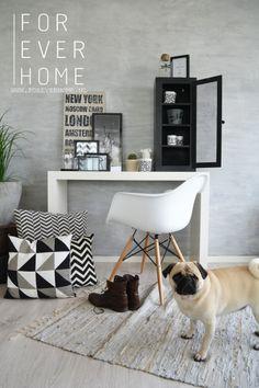 zwart wit interieur trend 2014 industrieel wonen grafische prints kussens tekstborden www.foreverhome.nl