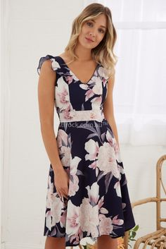 Jolene Dress in Navy with Pink Floral Flowery Dresses, Cute Dresses, Casual Dresses, Short Dresses, Girls Dresses, Floral Fashion, Fashion Wear, Fashion Outfits, Winter Dresses