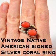 Vintage Sterling Native American Signed Coral Ring This is a Beautiful Vintage Signed Native American Sterling Silver Coral Ring. Size 9. See pics for unique hallmark that looks like maybe TC? The ring is not marked Sterling but has been tested & confirmed 925 silver. The color of the stones was hard to capture but it is more orange than red. Perfect for any vintage collector! Has not been cleaned due to age. Thanks for stopping by my closet! I ship out same day! Bundle & Save More! Please…