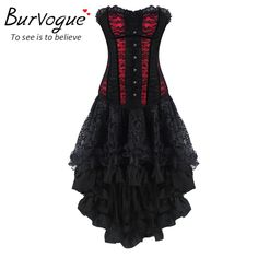 Burvogue Women Steampunk Corsets Dress Vintage Bustier Top Gothic Overbust Corset Dress Waist Corset Sexy Lace Waist Trainer Oh just take a look at this! Visit our store Gothic Corset Dresses, Steampunk Corset Dress, Gothic Lolita Dress, Goth Dress, Bustier Dress, Lace Corset, Lace Dress, Overbust Corset, Gothic Steampunk