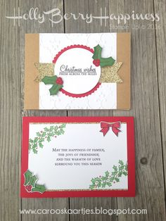 Stampin 'Up!  Holly Berry Happiness, Christmas card, Christmas, stamping, card making