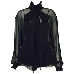 f1ecbb9e9aa Preowned Chanel Spring 2001 Black Sheer Silk Blouse With Knit... ( 975)