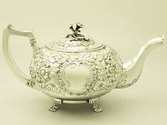 A fine and impressive antique Georgian Irish sterling silver teapot; an addition to our silver teaware collection  http://www.acsilver.co.uk/shop/pc/Irish-Sterling-Silver-Teapot-Antique-George-III-37p4529.htm