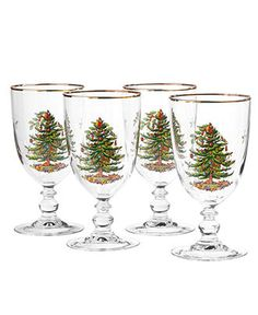 Spode Glassware, Set of 4 Christmas Tree Goblets - Holiday Drinkware - Holiday Lane - Macy's