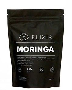 Moringa | superfood packaging | black stand up pouch packaging | curated by Copious Bags™