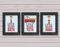 Set of 3 8x10 prints, Little firemen Art, Little firefighters take a bath, Kids Decor, Word Art, Kids Wall Art, Baby Decor, Nursery print