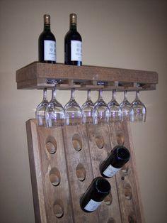 Rustic Wine Shelf, Hanging Glass Shelf, Pottery Barn Style Shelf, Wine Rack, Wine Shelf. $59.00, via Etsy.