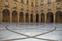 The floor of the entrance way to the cathedral of Montserrat