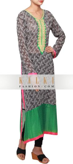 Buy Online from the link below. We ship worldwide (Free Shipping over US$100) http://www.kalkifashion.com/black-and-white-printed-kurti-in-georgette-embellished-in-zari-only-on-kalki.html