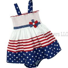 Infant Girl 4th of July Dress Sets by Bonnie Jean - Cute Dress Set with Stars and Stripes on a Shirred Elastic Dress with Red, White and Blue Ribbon Accents.  Matching Star Panty. 100% Cotton.  Available in sizes 12, 18 and 24 Months