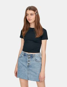 Stretch-T-shirt met ronde hals - T-shirts Denim Skirt, Shirts, Netherlands, Spring, Fashion, Crew Neck, Blouse, Chemises, Germany