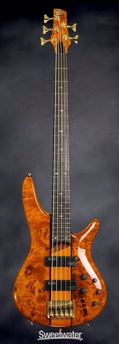 IBANEZ SR805 • 5-string Electric Bass Guitar with Mahogany Body, Poplar Burl Top, 5-pc Jatoba/Bubinga Neck, Rosewood Fretboard, and 2 x Humbucking Pickups - Amber | Sweetwater
