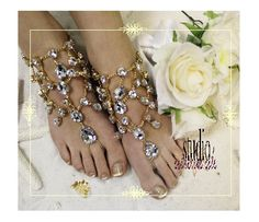 Crystal Dreams gold rhinestone barefoot sandals add WOW to your beach wedding! Add a little bling with our gold crystal footless sandals! Stunning beach wedding foot jewelry that will make a statement