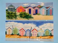 Ceramic wall art including harbour and quayside scenes, boats, beach scenes, surf boards and lighthouses. Painting Ceramic Tiles, Ceramic Wall Art, Nautical Wall Art, Beach Wall Art, Hand Embroidery, Machine Embroidery, Beach Huts, Wooden Houses, I Love The Beach