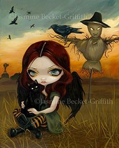 """""""The Scarecrow"""" SIGNED Glossy Photo Art Prints by Jasmine Becket-Griffith. The Scarecrow - this might be my favourite of all my Autumn/Halloween paintings so far! I've painted this crow-winged faery girl sitting in a cornfield - a slightly sinister scarecrow behind her, a desolate farmhouse in the distance. The scarecrow doesn't necessarily seem to work though - not only is there a crow-girl right by him, there is also a lovely great crow right on his arm! I love the autumn colours of…"""