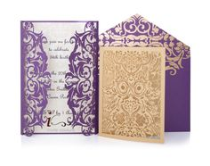 Die Cut Custom Luxury Invitations - DieCut Gold/Purple and Ivory Metallic Double Sided Invitation - Metallic Invitations by InviteCouture by PaperWeLove on Etsy https://www.etsy.com/listing/293665567/die-cut-custom-luxury-invitations-diecut
