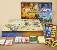 """Through the Ages: A Story of Civilization -- """"An exciting game of strategy & resource management. Players guide their civilizations up from Antiquity, through the Middle Ages, & into Modern Times."""""""