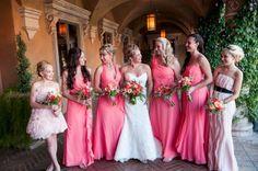 Vibrant colored bridesmaids dresses   Read More: http://www.loveandlavender.com/2014/06/real-wedding-villa-siena/